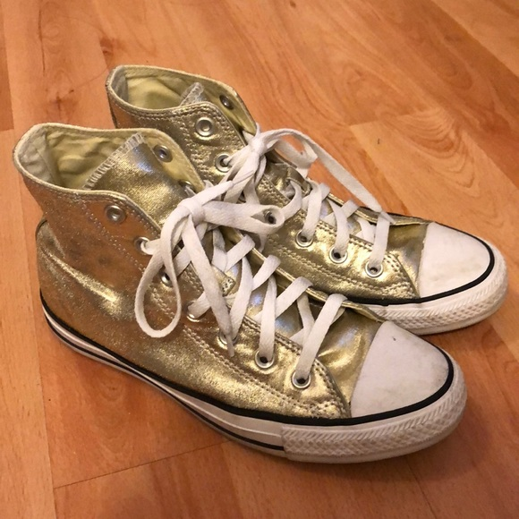 Converse All Star gold metallic hi tops. W 8M 6.